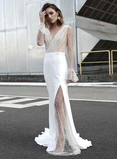 Women's Clothes Long side-slit Wedding Dresses White Semi Sheer Dots Wrap Bell Long Sleeve s white