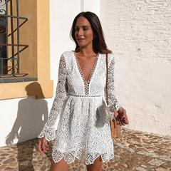 Women's Clothes White Lace Wedding Dresses Deep V neck Long Rim Sleeve Short Dress High Waist s white