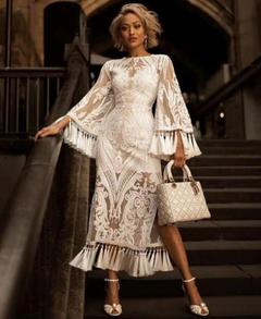 Women's Clothes long Wedding Dresses tassels Semi Sheer Bell Long Sleeve Lace Maxi Length Zip up s white