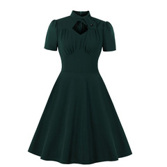 Women's Clothes fit flare Solid Dresses keyhole Tie Button Stand Collar Short sleeve zip up mid Calf s green