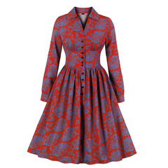 Women's Clothes fit flare Long Sleeve Split Neck Dresses Floral Damask High Waist Button Down s red