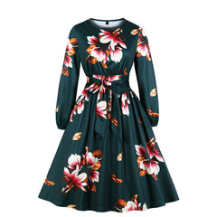 Women's Clothes fit flare Dresses Long sleeve zip up Big Floral Belt Mid Calf s green