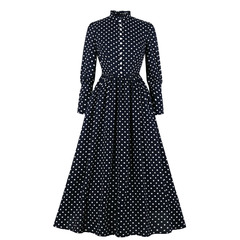 Women's Clothes Stand Collar Polka Dots Long Sleeve Maxi Dresses Full length Front Button Zip up s navy