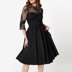 Women's Clothes Fit Flare Solid Black Semi Sheer Lace Dresses Mid Calf 3/4 Sleeve s black