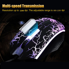 USB 2.0 Wired Gaming Mouse Seven-color Backlight Professional Athletics Gaming Mouse for Laptop & PC