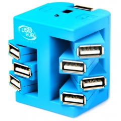 Rotatable 7 Ports USB 2.0 Hub with DC 5V Power Port USB Cable Blue USB 2.0 7