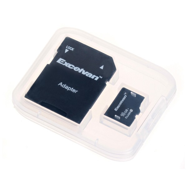 Excelvan 16GB TF Memory Card + Free  Adapter Class 10 for Cubot Samsung HTC Motorola ZTE Phone Black Class 10 16G