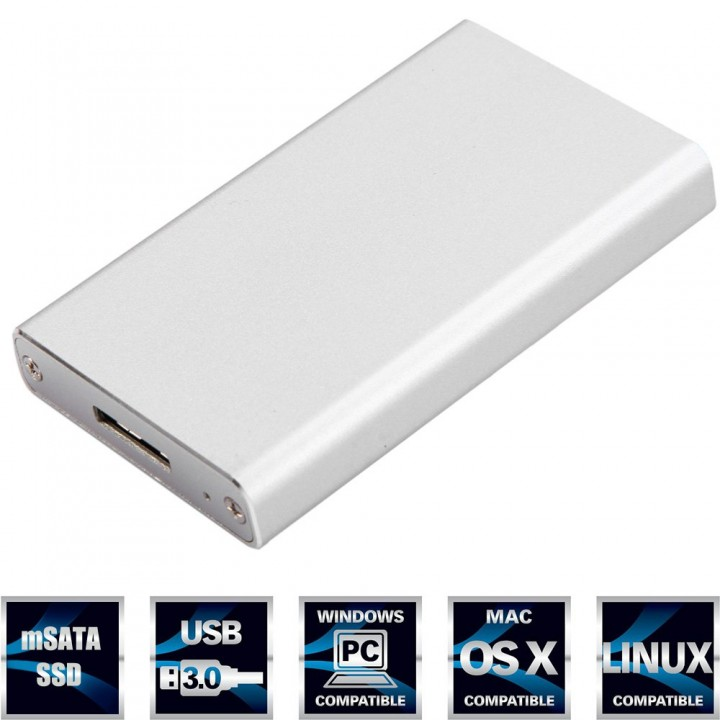 Portable mSATA SSD to USB 3.0 SSD Hard Disk Box External Enclosure for PC Laptop Silver 1TB