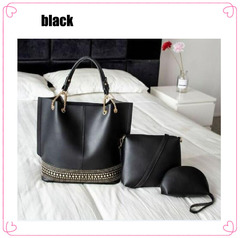Hot selling Europe and America women handbags three in one handbags for ladies black large size