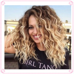 Gradually Coloured Long Curly Hair wigs Black Ladies Wigs synthetic curls Rose net picture color 20inch