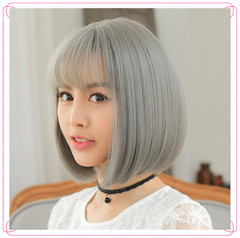 13 inch Short hairstyles for african hair Black Wigs hair short straight Synthetic hair black 13.5 inch(35cm)