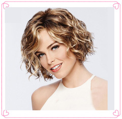 European and American Premium short hair Black wigs with short curls Ladies Synthetic short hair picture color 10inch(30cm)