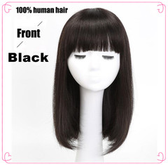 100% human hair wigs long straight with bangs wigs hair rose cap full wigs black 30cm
