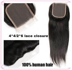 1pcs 100% human hair straight hair lace closure 4*4/2*6 Black wigs human hair long natural black natural black 8 inch  4*4