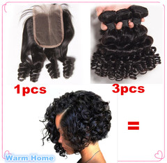 3 Bundles women wigs human hair Curly short  +1pcs funmi closure  human hair wigs short for women free part 8*8*8inch+8inch