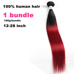 1 bundle premium ombre body straight long human hair straight wigs hair of Black women wine red 12  inch