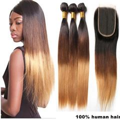3 bundles ladies human wigs hair brazilian long straight +1pcs4*4 block Lace Closure women wigs long three color gradient(30-4-1b) Middle part 10*12*14inch+closure10inch