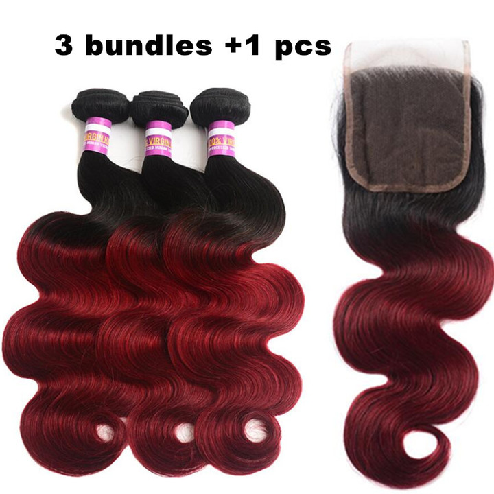 4in1 3 bundles women human wigs hair long curly +1 pcs 4*4  lace closure human ombre body wave hair wine red 14*16*16+12