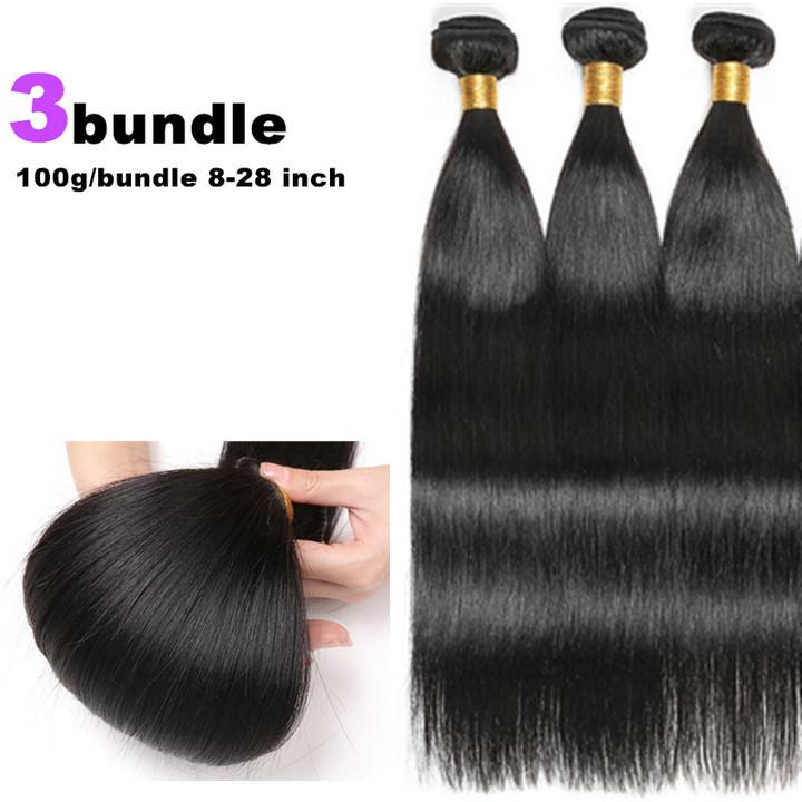 3 bundles premiun straight human hair wigs long straight wigs for Black women human hair long wigs natural black 28*28*28 inch