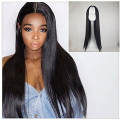 Premium Wigs with long straight hair black/brown human wigs women hair Synthetic hair wigs ladies black 25inch