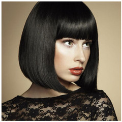 Premium synthetic wigs with short straight hair BOBO Wigs for ladies short hair styles 15inch black 13 inch (35cm)