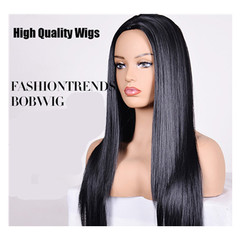 High Quality women wigs straight long Wigs hair for Black ladies Synthetic hair 26 inch black 26inch