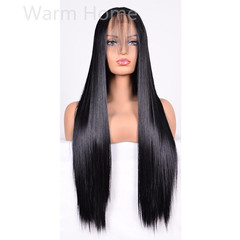 Womens wigs lace front hair wigs long straight synthetic hair wigs black 27 inch