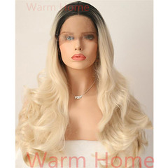 Front lace wigs hair for Black women high quality synthetic wigs long curly hair black 27 inch