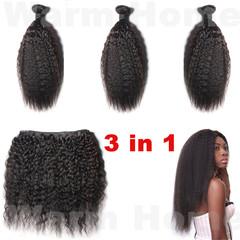 3 pc in 1 Premium black women human hair long curly human wigs hair ladies curly wigs hair long natural black 8 inch