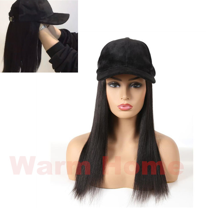 IN party human wigs long straight Together with the wigs and cap women wigs cap for party 25-35cm black / wigs and cap 35CM