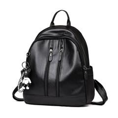 Premium pu Black women backpacks red bags Travelling bags for ladies outside pockets black Pendant