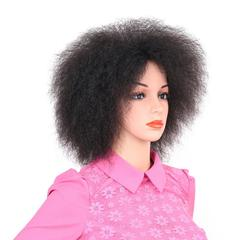 Premium party wigs for Black women Fluffy hair Explosive head black wig ladies short synthetic hair black 6inch
