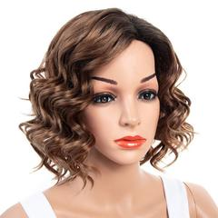 Premium black wigs short wavy hair women wigs curly wavy hair wigs ladies short hair light brown 13 inch