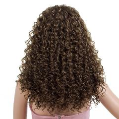 Premium African roll wigs long black women wigs curly ladies wigs hair wavy Synthetic hair light brown 23 inch