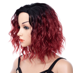 Partial division premium black wigs short wavy hair women wigs curly short Synthetic wigs picture color 14 inch