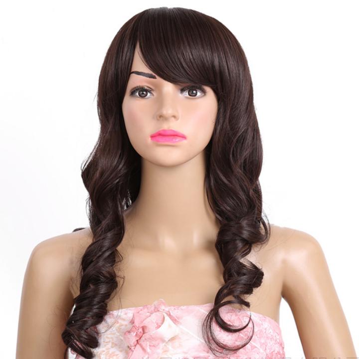 It's premium wavy wigs for black women wigs long curly wavy hair bangs wigs for ladies black 25inch