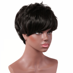 Premium Short hair oblique bangs small curls wigs Black wigs short  curly ladies short wigs hair black 9 inch