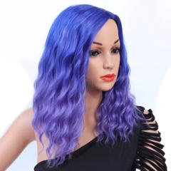 Premium 18inch short wigs African wig black lady short wig black hair short curly hair blue 18inch