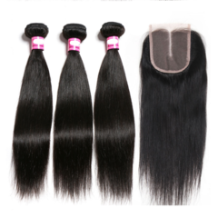 Premium human wigs hair for women human hair straight long Black wigs human hair Lace Closure natural black 8*8*8inch straight hair+8inch Lace Closure