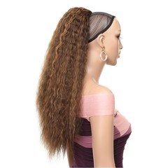 Premium Ponytail hair women wigs Ponytail long lady wigs hair curly Blalck women wigs synthetic hair #8-27 24 inch