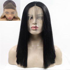 premium lace front synthetic wigs straight long hair for ladies lace front wigs of black women wigs black 24 inch