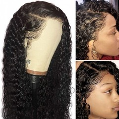 premium synthetic lace front wigs for black women full lace front wigs curly long wigs for ladies black 20 inch