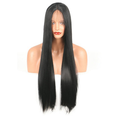 Premium synthetic lace front wigs for black women wigs straight long hair lace front wig of ladies black 14 inch