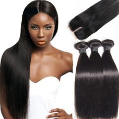 4 in 1/pcs long straight human 3 bundles human hair + 1 bundle free part 4*4 lace closure human wigs natural black/ middle part 8*8*8inch+8inch