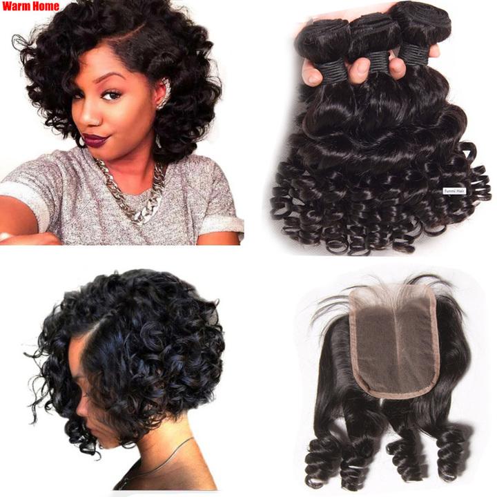 Premium funmi human hair for black women human wigs brazilian funmi hair wigs curly hair of ladies 3 bundles 8 inch + 1 pcs 8 inch lace closure 8 inch