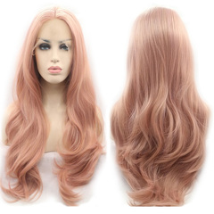 Premium Pink Lace Frontal Wigs for Women Synthetic Wigs Long Wavy Hair Wigs of Ladies pink 22inch