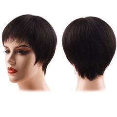Premium 8 inches short human wigs hair for women short straight wigs human hair wigs natural black 8 inches(20cm)