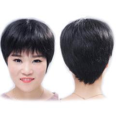 Premium 4 inches short human wigs hair for women short straight wigs human hair  wigs for ladies natural black 4 inch(10cm)