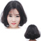 Premium 11 inches Slight curly human wigs hair for women wigs human hair for ladies natural black 11 inches(30cm)