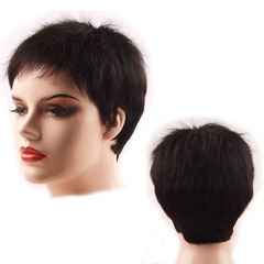Premium 5cm Shorter human wigs hair for women short women wigs hunman hair short hair of ladies natural black 5cm